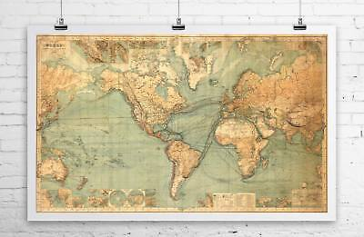 THE WORLD Vintage Map Reproduction Rolled Giclee CANVAS PRINT 28x24 in.