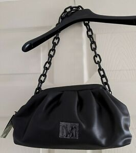 $129 Badgley Mischka Wrapped Frame Clutch Black Vegan Leather Shoulder Bag Chain
