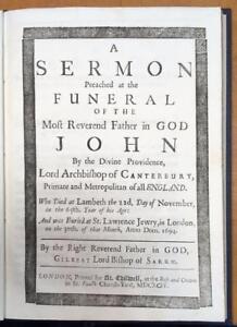 1694-Gilbert-Burnett-039-Funeral-Sermon-Of-John-Tillotson-039-Christian-Bible-Theology