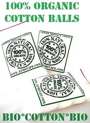 100% Organic CERTIFIED Cotton Ball Swab Wick RDA RBA Rebuildable