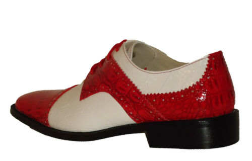 Roberto Chillini 6744 Mens Wing Tip Spectator Dress Shoes Glossy Red White