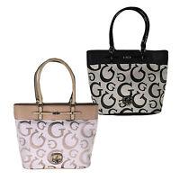 Guess Purse Ingrid Logo Large Jacquard Tote Grey Nude Shoulder Bag Si401025