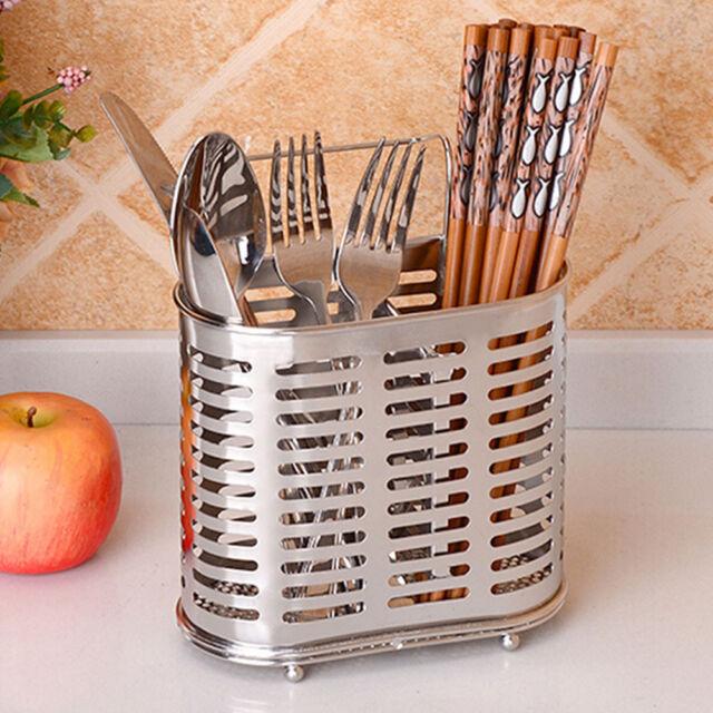 Stainless Steel Kitchen Utensils Cutlery Hanging Holder Rack Storage Container
