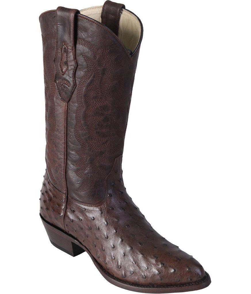 LOS ALTOS Hommes R-Toe marron Genuine Plume Autruche Western Cowboy démarrage 600307 D
