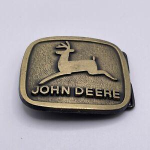 Vintage JOHN DEERE Brass Belt Buckle Logo