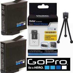 2-AABAT-001-ORIGINAL-GOPRO-BATTERIES-FAST-CHARGER-TRIPOD-FOR-GOPRO-HERO7-BLACK