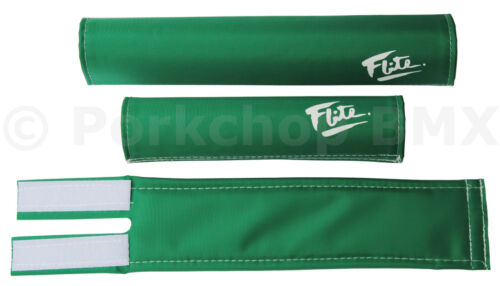 GREEN W// WHITE 80/'s LOGO *MADE IN USA* FLITE old school BMX foam padset pads