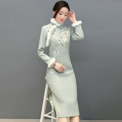 Ethnic Women Cheongsam Winter Chinese Fur Collar Embroidery Warm Party Dress New