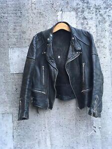 Vintage-Leather-Motorcycle-Jacket-Lightning-Size-38-40