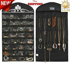 Closet Hanging Jewelry Organizer Necklace Storage Travel 32 Pockets