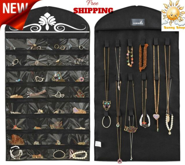 Closet Hanging Jewelry Organizer Necklace Storage Travel 32 Pockets