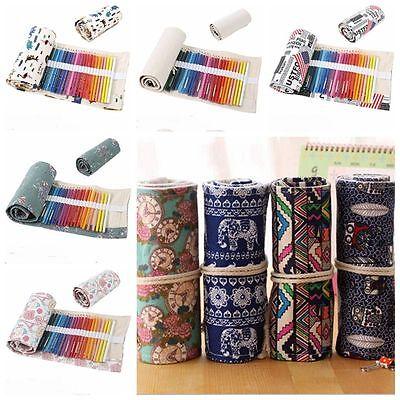 36/48/72 Holes Canvas Wrap Roll Up Pencil Bag Pen Case Holder Storage Pouch