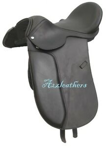 Leather Dressage Treeless Saddle Dark Brown with Accessories in available 9 size