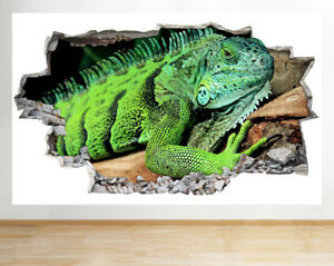 Image is loading D109-Lizard-Iguana-Reptile-Boys-Smashed-Wall-Decal- & D109 Lizard Iguana Reptile Boys Smashed Wall Decal 3D Art Stickers ...
