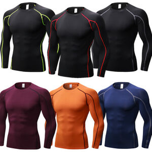 Men-039-s-Compression-Running-Tops-Plain-Wicking-Skin-Base-Layers-Jersey-Quick-dry