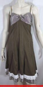 JUS-D-039-ORANGE-Taille-1-36-Superbe-robe-bretelles-femme-marron-blanc-dress-kleid