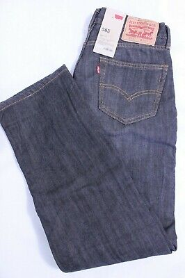Levi/'s 505 Denim Black Jeans 30W 30L Mens Regular Fit Straight Leg Zip Fly