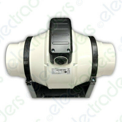 4 Inch 2 x Manrose MF100T Mixed Flow In-Line Extractor Fans with Timer 100mm