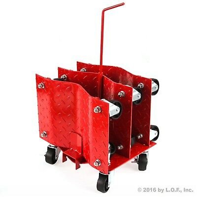 """(4) Auto Dolly Car Wheel Tire 12""""x16"""" Skate 6000lb Slide New Red Rolling Rack"""