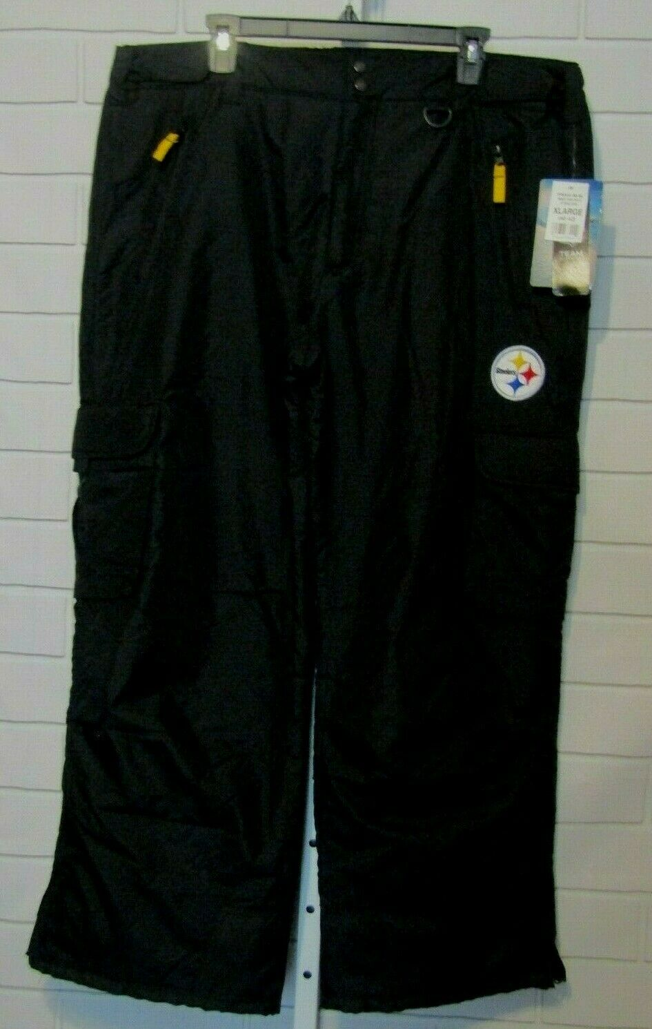 Men's NFL Steelers Team Insulated Thermatech  Cargo Snow Pants  XL (40-42) NWT  100% fit guarantee