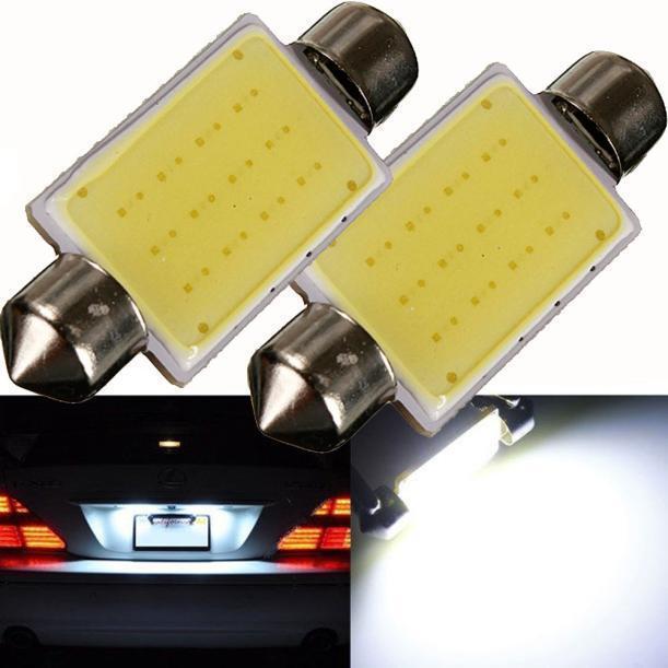2PCS 41mm Festoon COB 12 Chips DC 12V LED Car Dome Reading Lights Interior Lamps