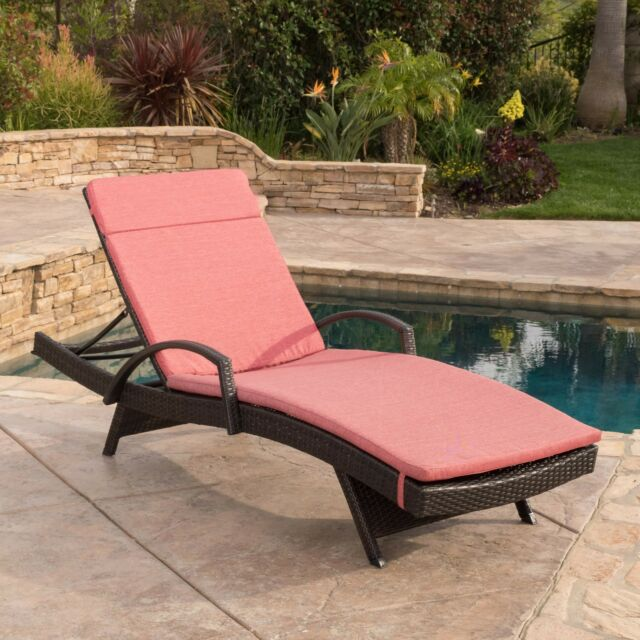 Contemporary Outdoor Brown Wicker Armed Chaise Lounge Chair with Red Cushion