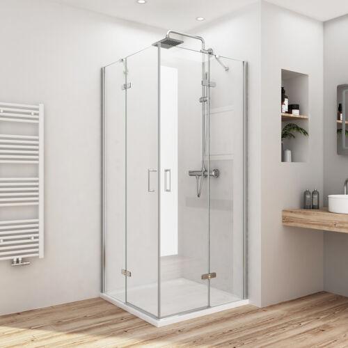 Duschkabine Eckeinstieg Duschabtrennung NANO Glas Duschwand Scharniertür Dusche