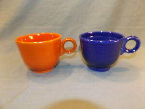 2-Vtg-FIESTA-CUPS-RED-orange-COBALT-BLUE-Ring-Handles-tea-cup