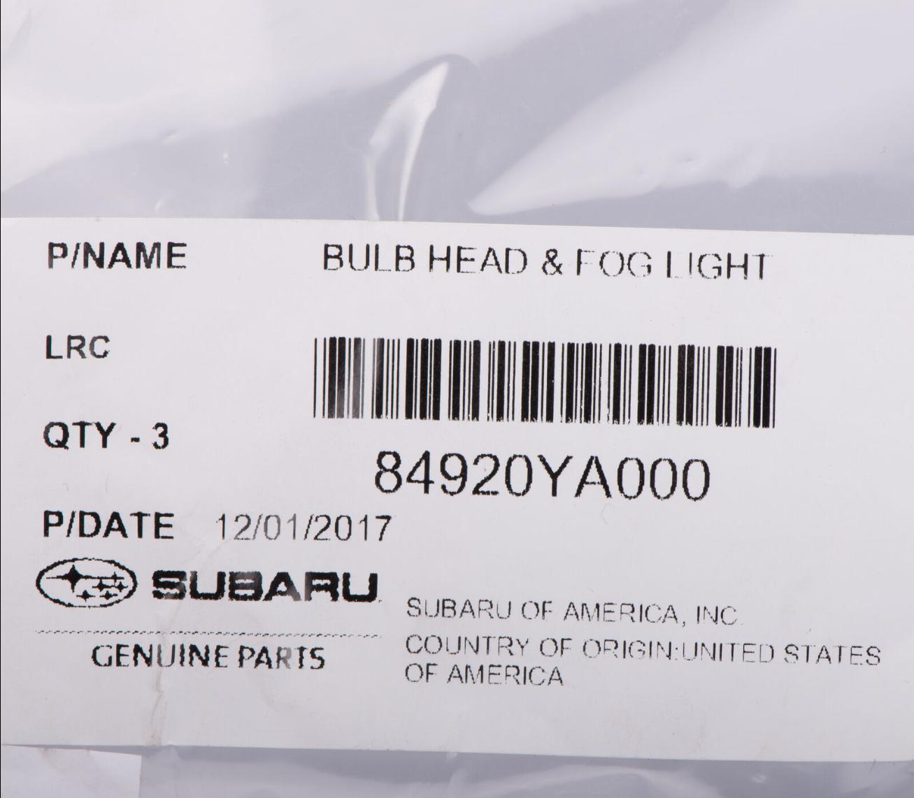 Genuine Subaru Bulb 84920KE010 1 Pack