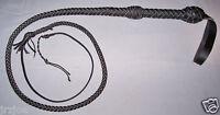 4 foot long 8 Plait BLACK Leather INDIANA JONES Stuntman BULL WHIP Bullwhip