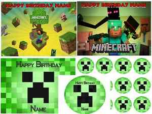 EDIBLE CAKE IMAGE MINECRAFT ICING SHEET PARTY TOPPER CUPCAKES