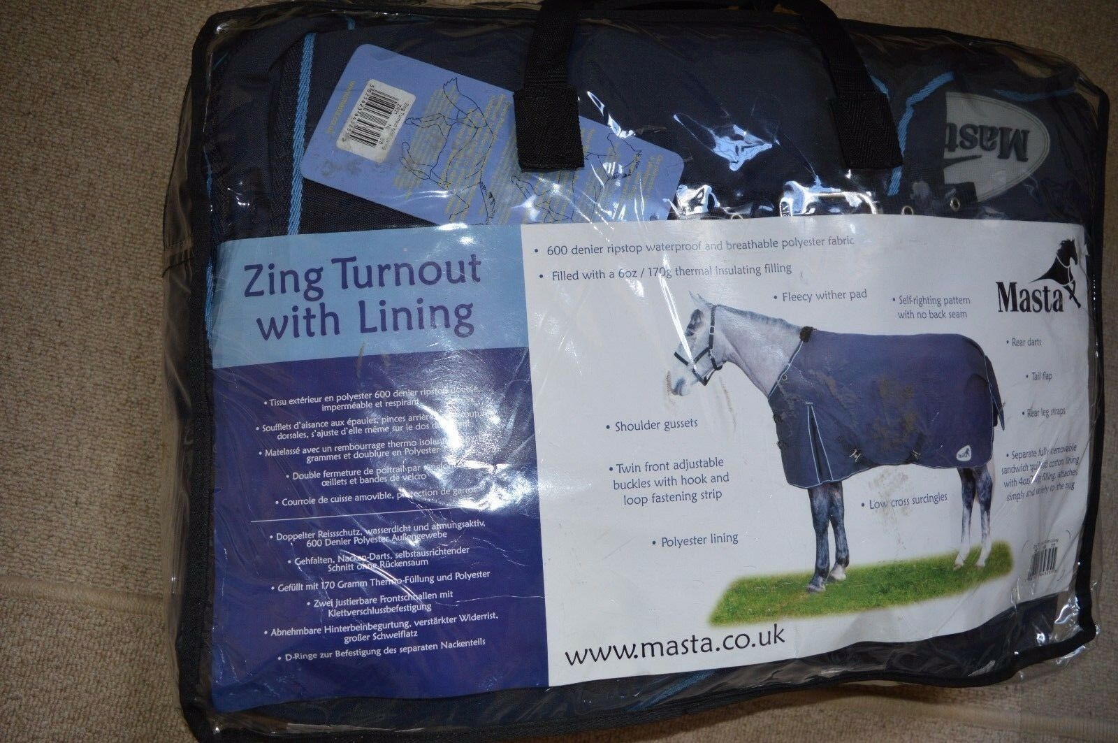 Masta Zing Turnout Rug with Liner 5ft 6