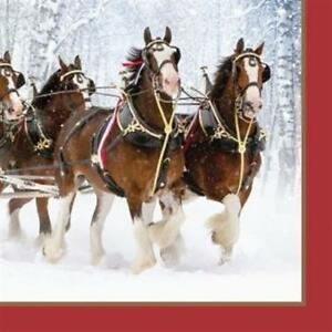 Clydesdales Lunch Napkins 16 Pack Winter Christmas Party Decoration