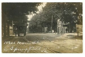 RPPC-Trolley-in-West-Main-St-EAST-SPRINGFIELD-PA-Erie-County-Real-Photo-Postcard