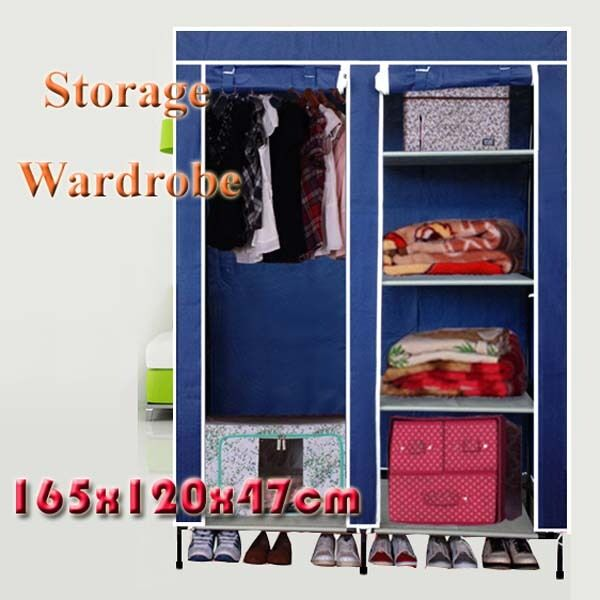 Portable Fabric Cover Wardrobe Steel Tube Storage Set Cloth Rack GDX-604A