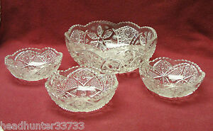 EAPG-EARLY-AMERICAN-PRESSED-PATTERN-GLASS-DESSERT-BERRY-Set-FRUIT-BOWLS