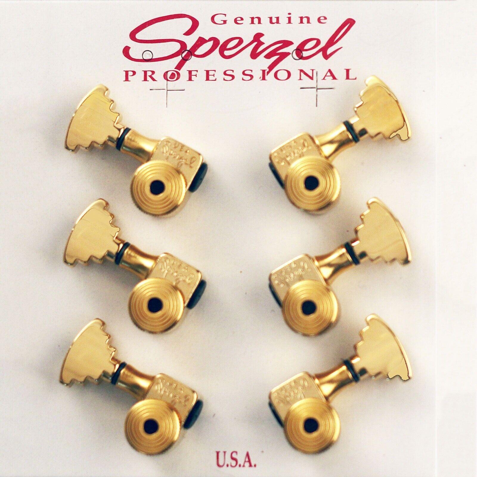USA Sperzel LOCKING TUNERS Trim-Lock PIN w  STEP Butttons SET 3x3 - Gold PLATED