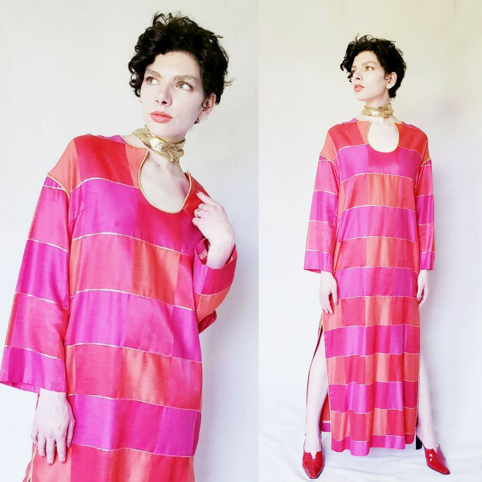 1960s Red Caftan Maxi Dress Patchwork Squares Pin… - image 1
