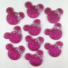ON SALE 10pcs Hot Pink Padded Minnie Mouse Applique Embellishment Trim Sewing