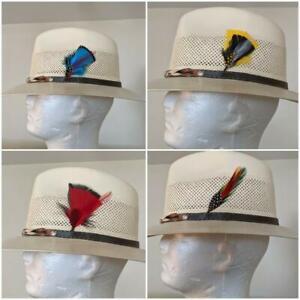 FEDORA-HAT-WITH-FEATHER-COWBOY-VAQUERO-SOMBRERO-DE-LUJO-OF-LUXURY-HAT