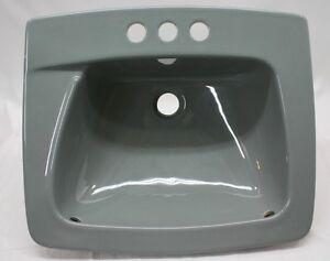 bs 94 nos vintage gray gunmetal retro bathroom sink drop in 19 square ebay
