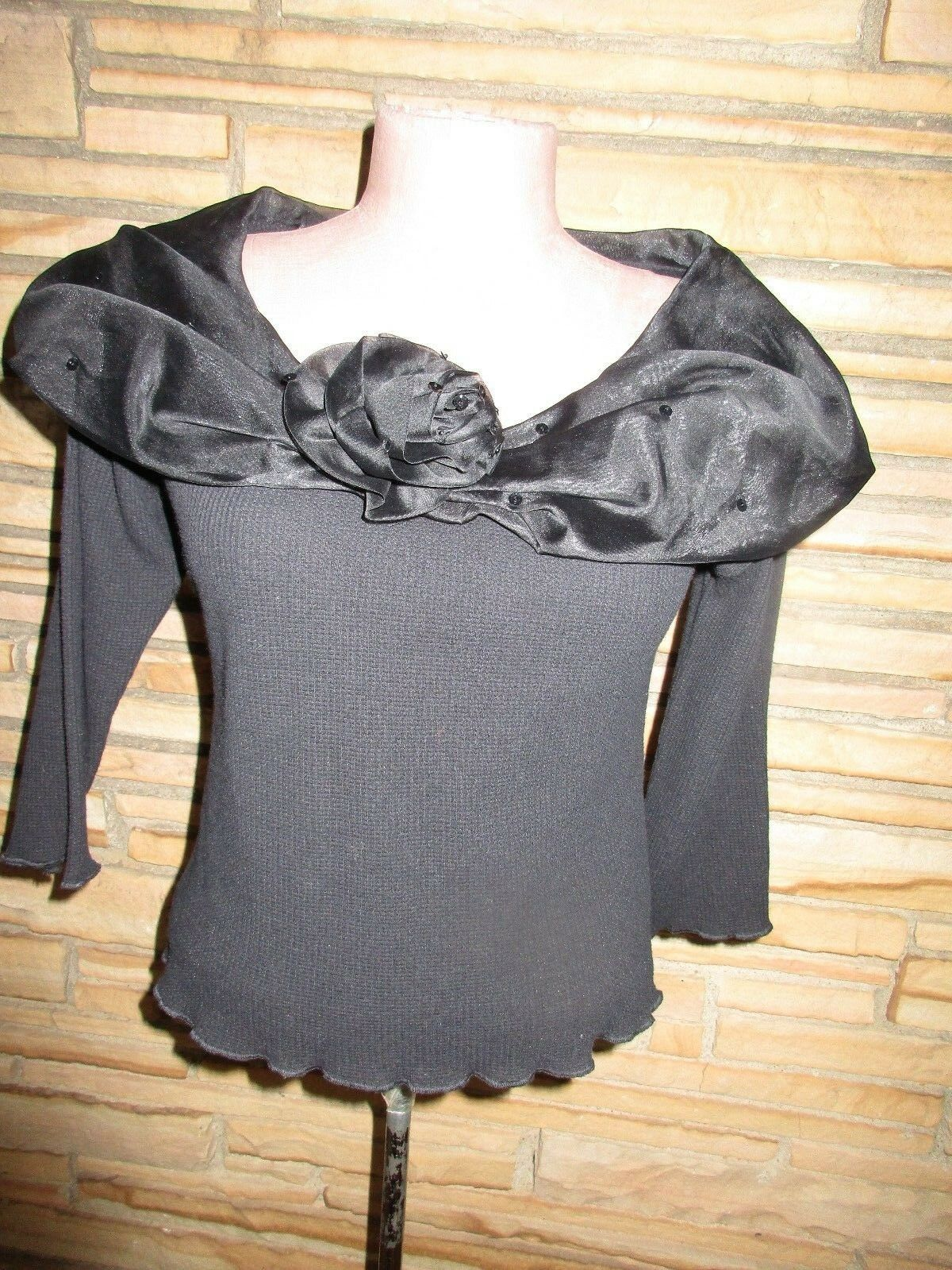 NWT Maureene NYC Keene Sz S Knit Top Wide Silk Collar Sequins Beads schwarz
