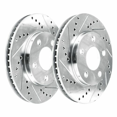 2 Platinum Hart *DRILLED /& SLOTTED* Front Disc Brake Rotors 1042 FRONT KIT
