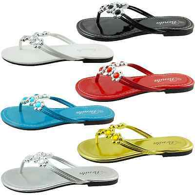Womens Sandals Silver Flower Jeweled Party Flat Shoes Flip Flops Thong VENUS-07