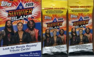 2019-Topps-WWE-SUMMER-SLAM-New-Wrestling-Cards-1-Blaster-2-Fat-Packs-Combo-Set