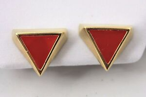 Signed-Napier-Vintage-Gold-Red-Enamel-Geometric-Triangle-Earrings