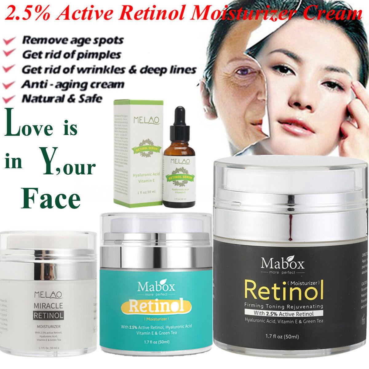 Retinol 2.5% Face Cream Serum Skin Anti Aging Wrinkles Hyalu