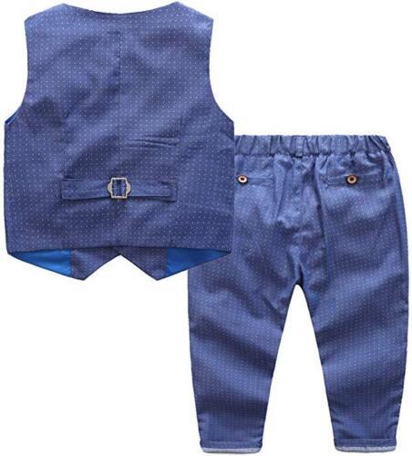 Garçons Costume Mariage 3pcs Gilet de Costume Bleu Noir Vin Gris