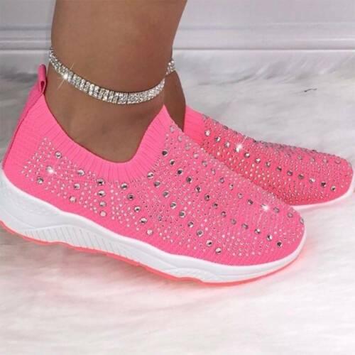 Damen Strass Sneakers Sports Laufschuhe Trunschuhe Atmungsaktiv Slip Beiläufig