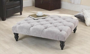 Charmant Image Is Loading Jacobs Grey Velvet Chesterfield Buttoned Footstool Coffee  Table